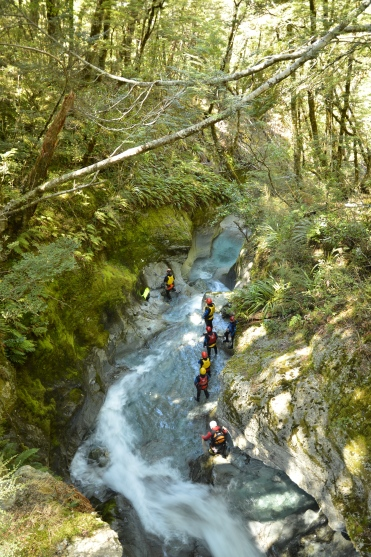 I walked a bit of the track. They are canyoning it.