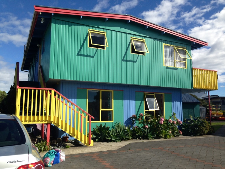 Very cheery colours at the hostel in Whitianga!